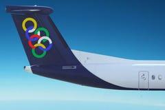 Olympic Air plane. Blue sky. Royalty Free Stock Photos
