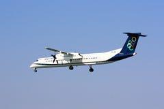 Olympic Air Q400 on approach. A Bombardier Dash 8 Q400 of Olympic Air on approach stock image