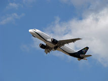 Olympic aircraft. Olympic Airbus a320 takes off from london heathrow airport Royalty Free Stock Images