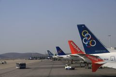 Olympic Airlines. The European Commission on Wednesday approved a Greek government plan to rescue ailing greek national carrier Olympic Airways and allow Stock Photos