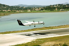 Olympic Airlines aircraft landing. At the international airport at Corfu Island, Greece Stock Photography