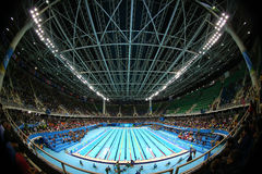 The Olympic Aquatics Center in Rio Olympic Park during Rio 2016 Olympic Games Stock Photo