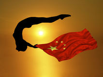 Olympic Athlete 3. Illustration of athlete diving with China flag Royalty Free Stock Image