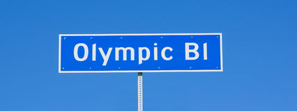 Olympic Blvd Sign Stock Image