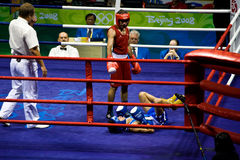 Olympic boxer falls after punch Stock Photography