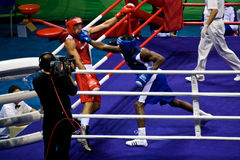 Olympic boxer lands a punch Royalty Free Stock Photography