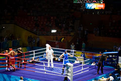 Olympic Boxing Champion celebrates. Roberto Cammarelle of Italy defeats Zhilei ZHANG of China to win the gold in the Men's Super Heavyweight boxing final Royalty Free Stock Images