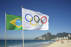 Olympic and Brazilian Flags Flying Rio de Janeiro Brazil Stock Photography