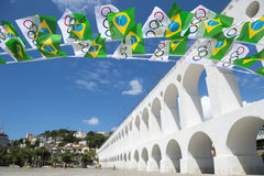 Olympic and Brazilian Flags Lapa Arches Rio Stock Photography