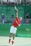Olympic bronze medalist Kei Nishikori of Japan in action during men's singles bronze medal match of the Rio 2016 Olympic Games Stock Photo