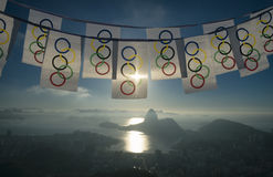 Olympic Bunting Waving at Rio de Janeiro Skyline Overlook Royalty Free Stock Images