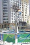 Olympic cauldron in downtown Rio Stock Photos