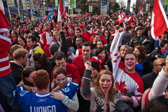 Olympic Celebration. Vancouver, BC, Canada - Feb 28, 2010:  Canadians celebrate Canada Men's Hockey Team gold medal in the 2010 winter Olympic Games Stock Images