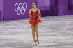 Olympic champion Alina Zagitova of Olympic Athlete from Russia performs in the Team Event Ladies Single Skating Free Skating. GANGNEUNG, SOUTH KOREA - FEBRUARY Royalty Free Stock Photography