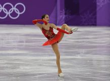 Olympic champion Alina Zagitova of Olympic Athlete from Russia performs in the Team Event Ladies Single Skating Free Skating Royalty Free Stock Photo