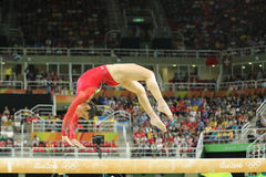 Olympic champion Aly Raisman of United States competes on the balance beam at women`s all-around gymnastics at Rio 2016 Olympics Royalty Free Stock Photography