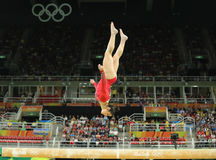 Olympic champion Aly Raisman of United States competes on the balance beam at women`s all-around gymnastics at Rio 2016 Olympics Royalty Free Stock Image
