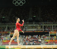 Olympic champion Aly Raisman of United States competes on the balance beam at women`s all-around gymnastics at Rio 2016 Olympics Royalty Free Stock Images