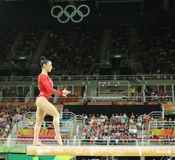 Olympic champion Aly Raisman of United States competing on the balance beam at women's all-around gymnastics at Rio 2016 Stock Image