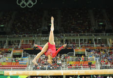 Olympic champion Aly Raisman of United States competing on the balance beam at women's all-around gymnastics at Rio 2016 Stock Photos
