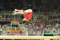 Olympic champion Aly Raisman of United States competing on the balance beam at women`s all-around gymnastics at Rio 2016 Olympics Royalty Free Stock Image