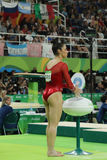 Olympic champion Aly Raisman of United States before competition on the balance beam at women`s all-around gymnastics at Rio 2016. RIO DE JANEIRO, BRAZIL Royalty Free Stock Image