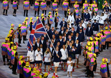 Olympic champion Andy Murray carrying the United Kingdom flag leading the Olympic team Great Britain in Rio 2016 Opening Ceremony Royalty Free Stock Image