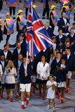 Olympic champion Andy Murray carrying the United Kingdom flag leading the Olympic team Great Britain in Rio 2016 Opening Ceremony Royalty Free Stock Images