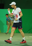 Olympic champion Andy Murray of Great Britain in action during men`s doubles first round match of the Rio 2016 Olympic Games Royalty Free Stock Photos
