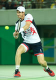 Olympic champion Andy Murray of Great Britain in action during men's singles final of the Rio 2016 Stock Photo