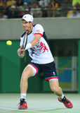 Olympic champion Andy Murray of Great Britain in action during men's singles final of the Rio 2016 Olympic Games Royalty Free Stock Photos