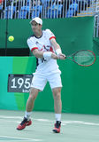 Olympic champion Andy Murray of Great Britain in action during men's singles quarterfinal of the Rio 2016 Olympic Games Stock Images