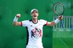 Olympic champion Andy Murray of Great Britain celebrates victory after men`s singles quarterfinal of the Rio 2016 Olympic Games Stock Photography