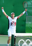 Olympic champion Andy Murray of Great Britain celebrates victory after men`s singles quarterfinal of the Rio 2016 Olympic Games Royalty Free Stock Photography