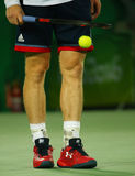 Olympic champion Andy Murray of Great Britain wears custom Under Armour tennis shoes during men`s singles final of the Rio 2016 Royalty Free Stock Image