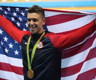 Olympic Champion Anthony Ervin of United States during medal ceremony after Men`s 50m Freestyle final of the Rio 2016 Olympics Royalty Free Stock Photo