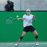 Olympic champion Bethanie Mattek-Sands of United States in action during mixed doubles final of the Rio 2016 Olympics Stock Photo
