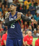 Olympic champion Carmelo Anthony of Team USA in action at group A basketball match between Team USA and Australia Royalty Free Stock Images