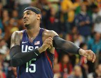 Olympic champion Carmelo Anthony of Team USA in action at group A basketball match between Team USA and Australia Stock Photography