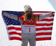 Olympic champion Chloe Kim celebrates victory in the women`s snowboard halfpipe final at the 2018 Winter Olympics. PYEONGCHANG, SOUTH KOREA – FEBRUARY 13, 2018 Stock Images
