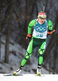Olympic champion Darya Domracheva of Belarus competes in biathlon Women`s 15km Individual at the 2018 Winter Olympics. PYEONGCHANG, SOUTH KOREA - FEBRUARY 15 Stock Photo