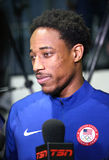 Olympic champion DeMar DeRozan during men`s basketball team USA press conference at Rio 2016 Olympic Games Press Center Royalty Free Stock Images