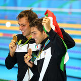 Olympic champion Gregorio Paltrinieri L and Gabriele Detti of Italy during medal presentation at the men`s 1500 metre freestyle. RIO DE JANEIRO, BRAZIL - AUGUST royalty free stock images