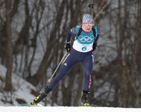 Olympic champion  Hanna Oeberg of Sweden competes in biathlon Women`s 15km Individual at the 2018 Winter Olympics. PYEONGCHANG, SOUTH KOREA - FEBRUARY 15, 2018 Stock Photo