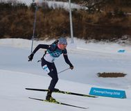 Olympic champion  Hanna Oeberg of Sweden competes in biathlon Women`s 15km Individual at the 2018 Winter Olympics. PYEONGCHANG, SOUTH KOREA - FEBRUARY 15, 2018 Stock Photography