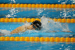 Olympic champion Katie Ledecky of United States competes at the Women's 800m freestyle of the Rio 2016 Olympic Games Royalty Free Stock Image