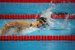 Olympic champion Katie Ledecky of United States competes at the Women's 800m freestyle of the Rio 2016 Olympic Games Royalty Free Stock Photo