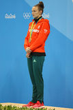 Olympic Champion Katinka Hosszu of Hungary during medal ceremony after Women`s 100m backstroke final of the Rio 2016 Olympics Stock Images
