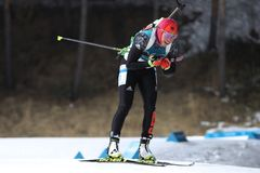 Olympic champion Laura Dahlmeier of Germany competes in biathlon women`s 10 km pursuit at the 2018 Winter Olympics. PYEONGCHANG, SOUTH KOREA - FEBRUARY 12, 2018 Stock Image