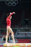Olympic champion Laurie Hernandez of United States practices on the balance beam before women`s all-around gymnastics at Rio 2016. RIO DE JANEIRO, BRAZIL Stock Photo